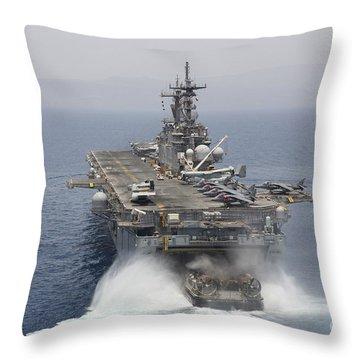 A Landing Craft Air Cushion Enters Throw Pillow