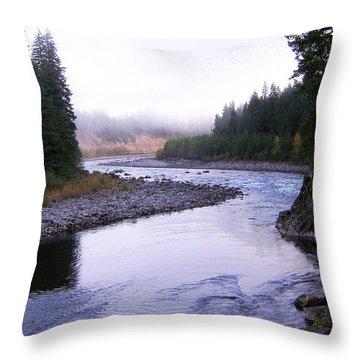 A Mountain Stream Throw Pillow by J D Owen