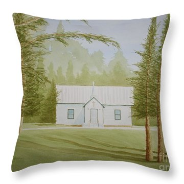 A North Carolina Church Throw Pillow by Stacy C Bottoms