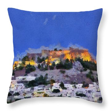 Acropolis And Village Of Lindos Throw Pillow
