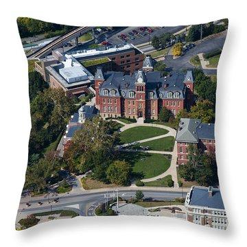 aerials of WVVU campus Throw Pillow by Dan Friend