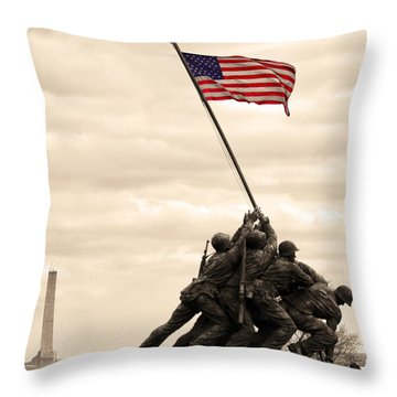 America Throw Pillow by Mitch Cat