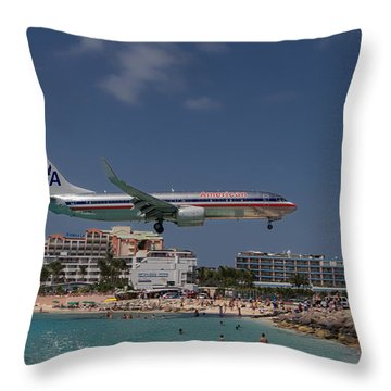 American Airlines At St. Maarten  Throw Pillow by David Gleeson