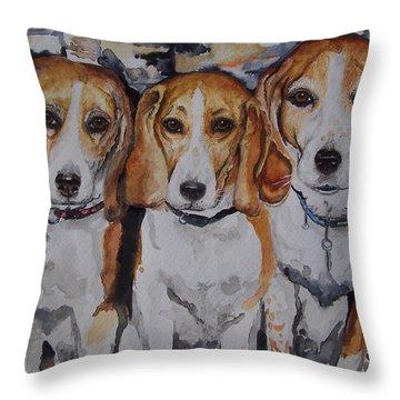 3 Amigo Beagles Throw Pillow