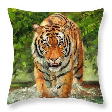 Amur Tiger Painting Throw Pillow