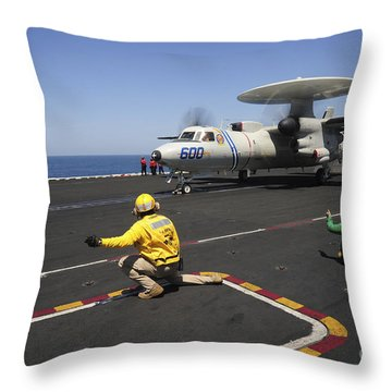An E-2c Hawkeye Launches Throw Pillow by Stocktrek Images