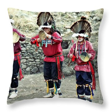 Throw Pillow featuring the photograph Apache Crown Dancers by Juls Adams