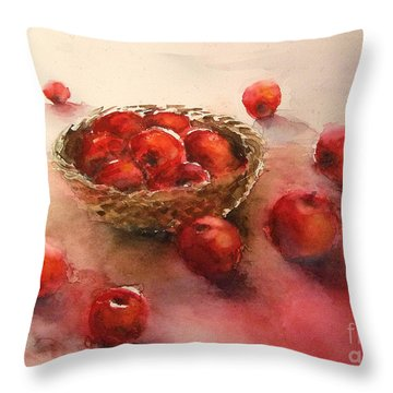Apples  Apples Throw Pillow by Yoshiko Mishina