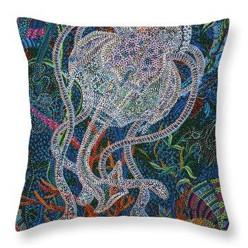 Aquatic Apparition  Throw Pillow by Erika Pochybova