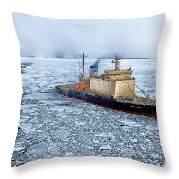 Throw Pillow featuring the photograph Arctic Sea Ocean Water Antarctica Winter Snow by Paul Fearn