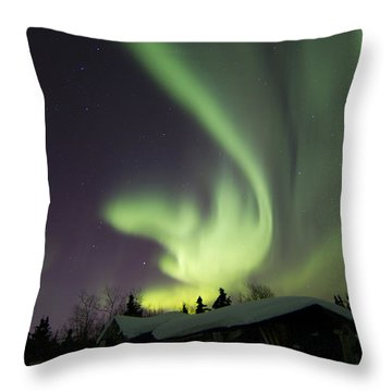 Aurora Borealis And The Big Dipper Throw Pillow by Joseph Bradley