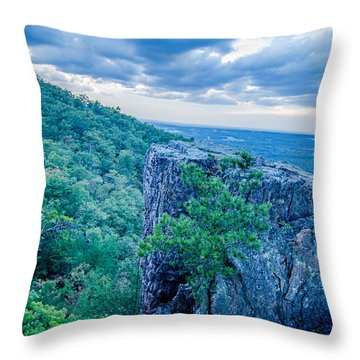 Beautiful Aerial Landscape Views From Crowders Mountain Near Gas Throw Pillow
