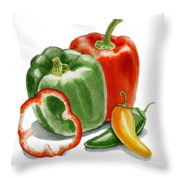 Bell Peppers Jalapeno  Throw Pillow by Irina Sztukowski