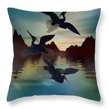 3 Black Herons At Sunset Throw Pillow by Bedros Awak