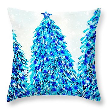 3 Blue Christmas Trees Alcohol Inks  Throw Pillow by Danielle  Parent