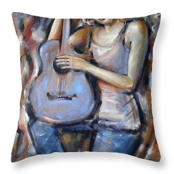 Blue Guitar 010709 Throw Pillow