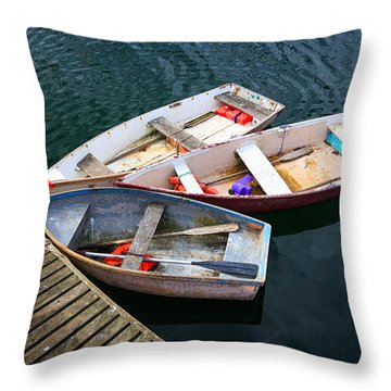 3 Boats Throw Pillow by Emmanuel Panagiotakis