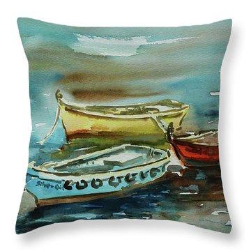 3 Boats II Throw Pillow by Xueling Zou