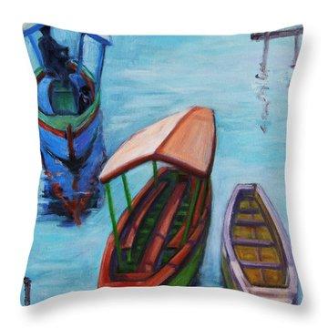 3 Boats IIi Throw Pillow by Xueling Zou