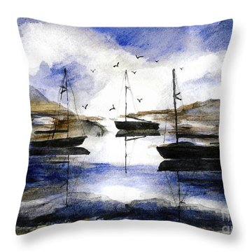 3 Boats In Cat Harbor Throw Pillow