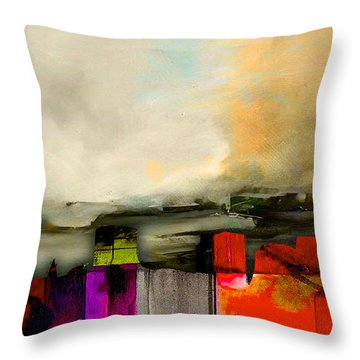Boston Skyline Watercolor Throw Pillow