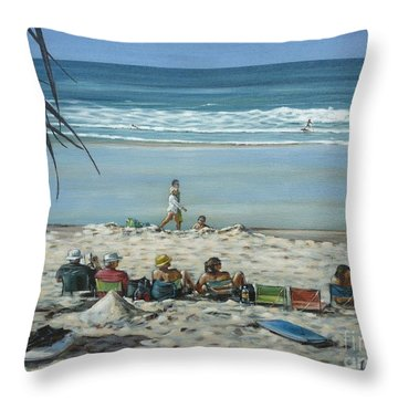 Throw Pillow featuring the painting Burleigh Beach 220909 by Selena Boron