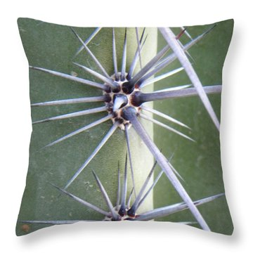 Throw Pillow featuring the photograph Cactus Thorns by Deb Halloran