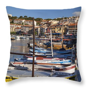 Cassis Boats Throw Pillow by Brian Jannsen