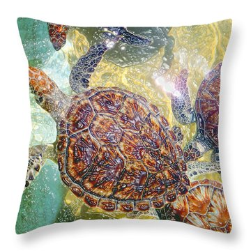 Cayman Turtles Throw Pillow by Carey Chen