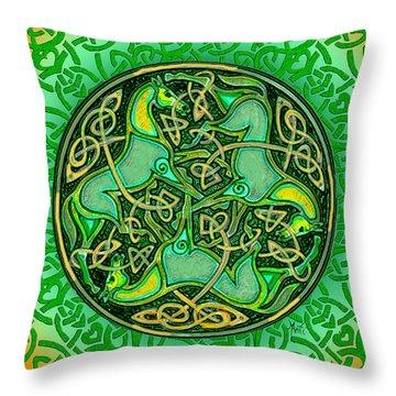 3 Celtic Irish Horses Throw Pillow