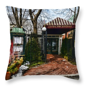 Central Park Boathouse Throw Pillow by Paul Ward