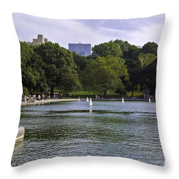 Central Park Pond Throw Pillow by Madeline Ellis