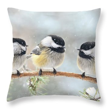 3 Chickadees On A Snowy Day Throw Pillow