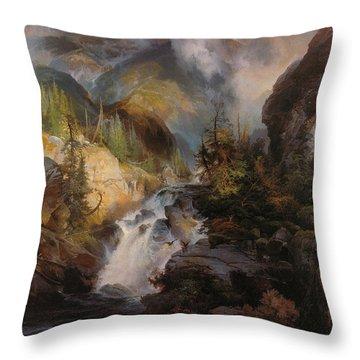 Children Of The Mountain Throw Pillow by Thomas Moran