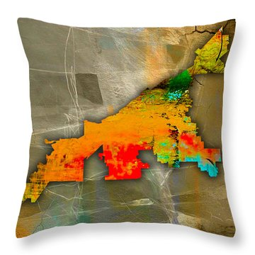 Cleveland Map And Skyline Watercolor Throw Pillow by Marvin Blaine