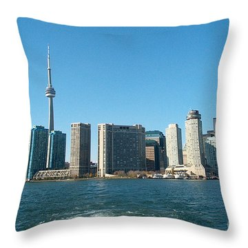Cn Tower Toronto View From Centre Island Downtown Panorama Improvised With Graphic Artist Tools Pain Throw Pillow by Navin Joshi