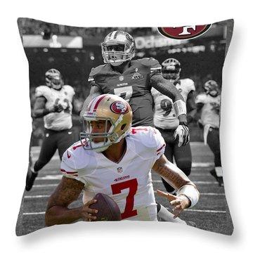 Colin Kaepernick 49ers Throw Pillow by Joe Hamilton