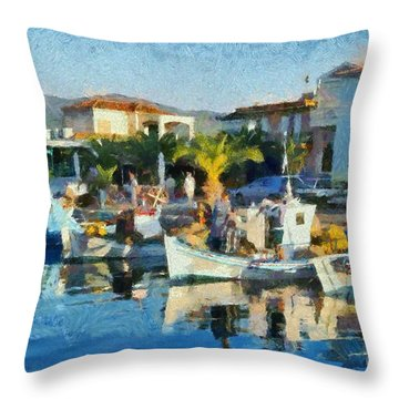 Colorful Port Throw Pillow by George Atsametakis