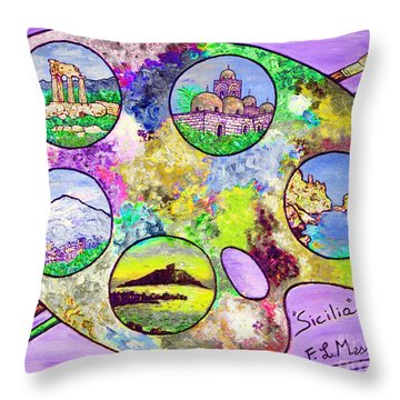 Sicily On A Palette Throw Pillow
