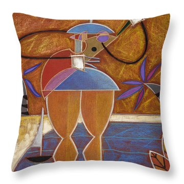 Throw Pillow featuring the painting Cuatro Caliente by Oscar Ortiz