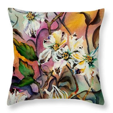 Dance Of The Dogwoods Throw Pillow by Lil Taylor