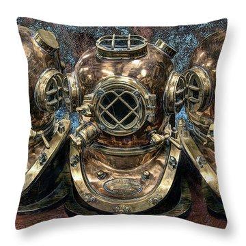 3 Deep-diving Helmets Throw Pillow