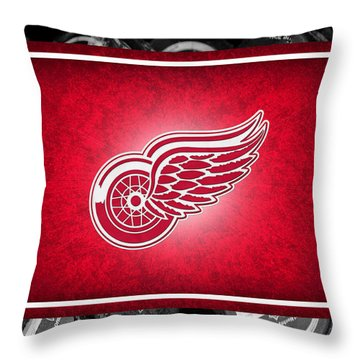Detroit Red Wings Throw Pillow by Joe Hamilton