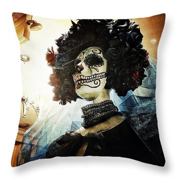 Dia De Los Muertos Throw Pillow by Natasha Marco