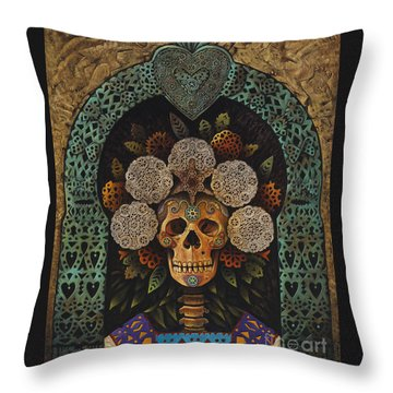 Dia De Muertos Madonna Throw Pillow