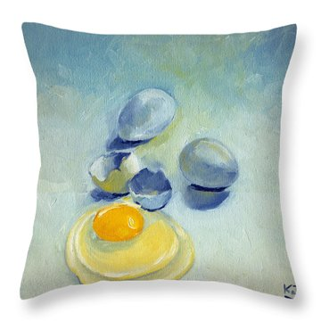 3 Eggs On Blue Throw Pillow