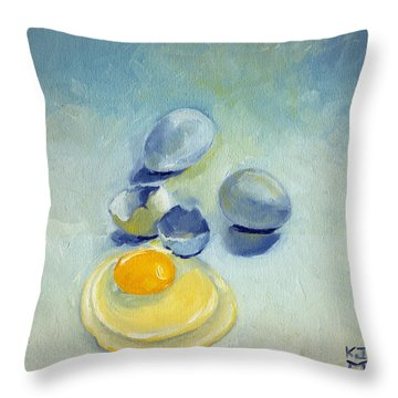 3 Eggs On Blue Throw Pillow