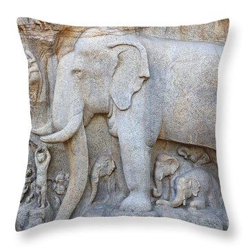 Elephant Sculpture At Mamallapuram  Throw Pillow by Robert Preston