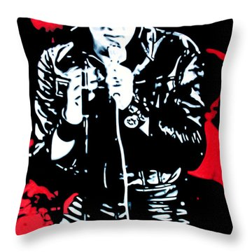Elvis Throw Pillow by Luis Ludzska
