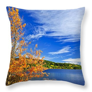 Fall Forest And Lake Throw Pillow